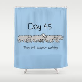 Day 45: They Still Suspect Nothing (Unicorn and Rhinos) Shower Curtain