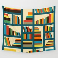 library Wall Tapestries featuring library by vitamin
