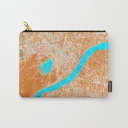 Hangzhou, China, Gold, Blue, City, Map Carry-All Pouch