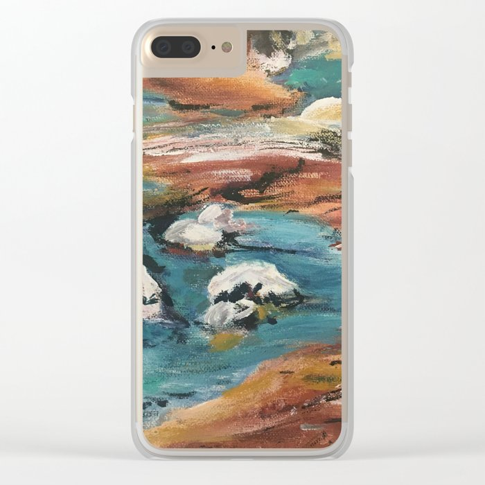 Water And Rock Expressionism Painting Clear iPhone Case