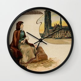 Mechelen lace making litho ca 1900 Wall Clock