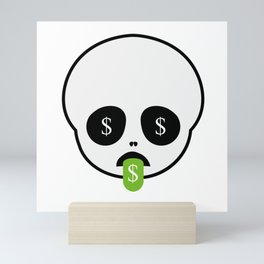 Cute skull with tongue out smile and dollar sign Mini Art Print