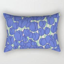 Indigo Tulips Rectangular Pillow