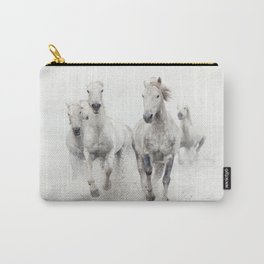 Camargue White Horses Running in Water - Nature Photography Carry-All Pouch
