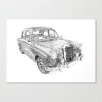 mercedes Canvas Prints featuring Mercedes-Benz 180 by Gábor Vida