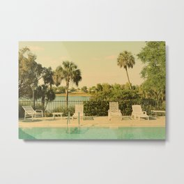 Lolita's Poolside Vacation - Beach Art Metal Print