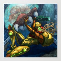 metroid Canvas Prints featuring Metroid by Kim Herbst