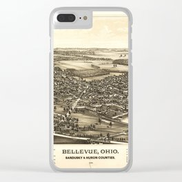 Aerial View of Bellevue Ohio Sandusky & Huron counties (1888) Clear iPhone Case
