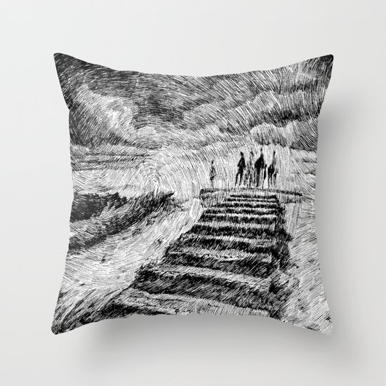 Drawing Black ink - Storm Throw Pillow
