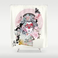 gemma Shower Curtains featuring Miànmó by Gemma Hodgson Design