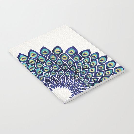 Peacock Mandala – Navy & Gold Notebook
