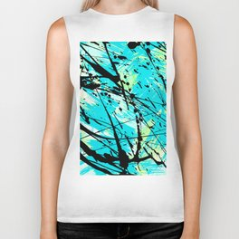 Abstract teal lime green brushstrokes black paint splatters Biker Tank