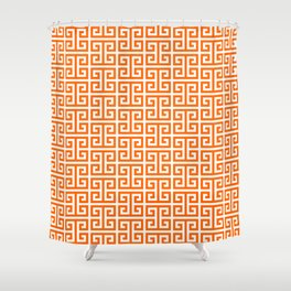 Orange and White Greek Key Pattern Shower Curtain