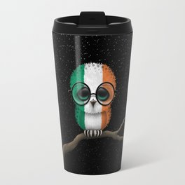 Baby Owl with Glasses and Irish Flag Travel Mug