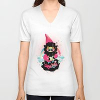 gnome V-neck T-shirts featuring Whistling gnome by Meni Tzima