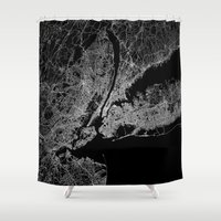 lorde Shower Curtains featuring New York map by Line Line Lines