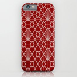 Christmas, Art Deco, Geometric Pattern, Red and Pink iPhone Case