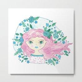 Dalia - Pink Hair spring Metal Print
