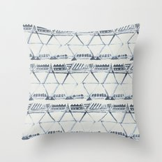 Simply Tribal Shibori in Indigo Blue on Lunar Gray Throw Pillow