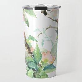 Sparrows And Apple Blossom, bird art Sage, teal green Vintage style floral bird art Travel Mug