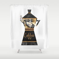 coffee Shower Curtains featuring Coffee by Elisabeth Fredriksson