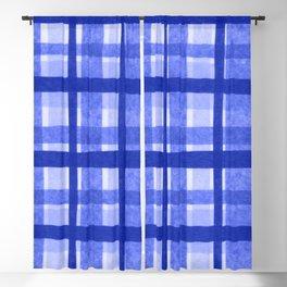 Tissue Paper Plaid - Blue Blackout Curtain