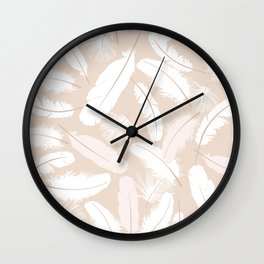 White feathers on a pink background. Wall Clock