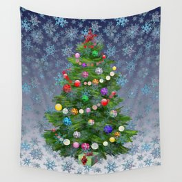 Christmas tree & snow v.2 Wall Tapestry