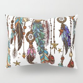 Feathers and crystals in aztec style Pillow Sham