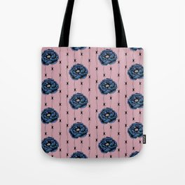 Blue Flower With Barbed Wire On Muted Pink Background Tote Bag