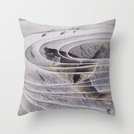 12,000pixel-500dpi - Kawanabe Kyosai - Carps - Digital Remastered Edition Throw Pillow
