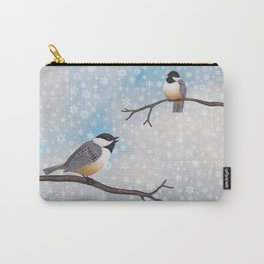 chickadees in snow Carry-All Pouch
