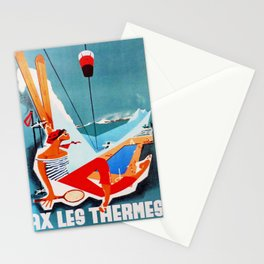 retro Ax Les Thermes retro poster Stationery Cards