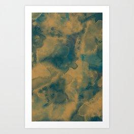 Watercolor - Gold & Green Art Print