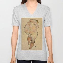 """Egon Schiele """"Female Nude Pulling up Stockings, Back View"""" Unisex V-Neck"""