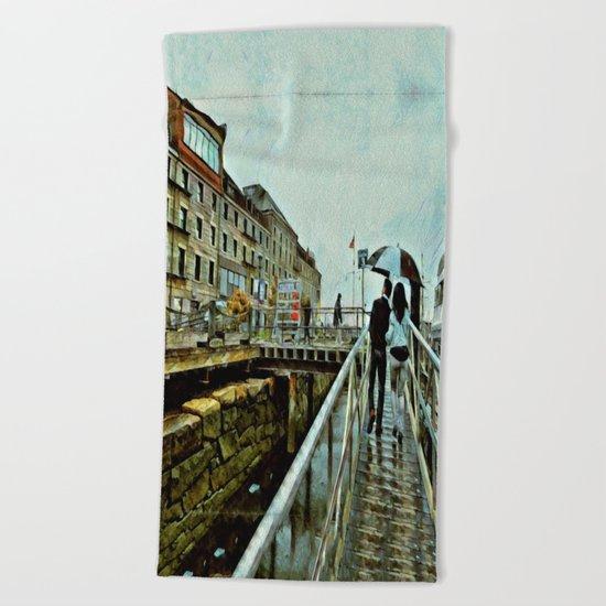Boston Rain: Exit Gate 3 Beach Towel