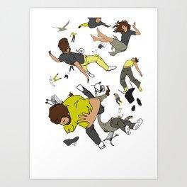 Falling Down Art Print