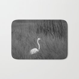 Black & White Common Egret California Pencil Drawing Photo Badematte