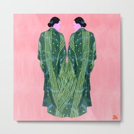 Woman in Green Kimono in Japan Metal Print