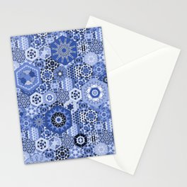Hexagons Tiles (Azul) Stationery Cards