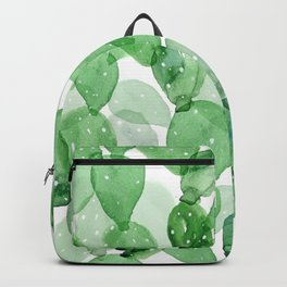 Seamless Pattern Green Cactus Watercolor Painting Backpack