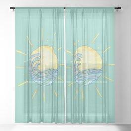Sun Wave Aqua  Sheer Curtain