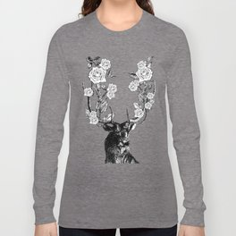 The Stag and Roses | Deer and Flowers | Vintage Stag | Vintage Deer | Antlers | Black and White | Long Sleeve T-shirt