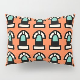New York Windows Pattern 261 Orange and Green Pillow Sham