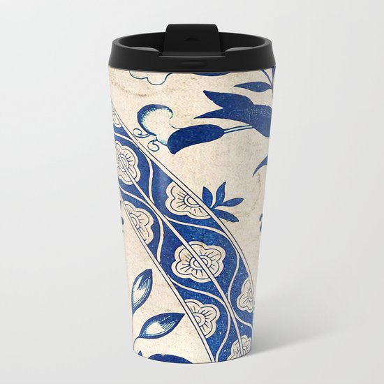 Blue Oriental Vintage Tile 04 Metal Travel Mug