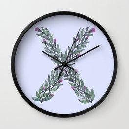 Leafy Letter X Wall Clock
