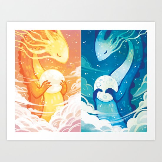 Sun and Moon Dragons Art Print