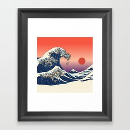 The Great Wave of Pugs / Square Framed Art Print