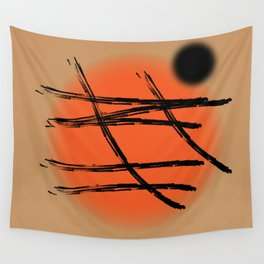 Black abstract Japan lines and marks on the orange setting sun Wall Tapestry