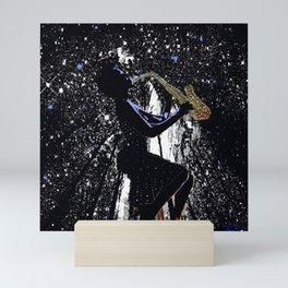 LADY JAZZ SAXOPHONE MUSIC AMONG THE STARS Mini Art Print